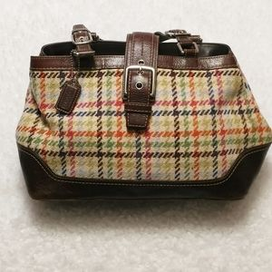 Coach Tattersall Plaid Wool/Leather Satchel